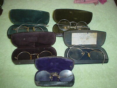 Lot Of 5 Pr. Of Vintage Eye Glasses Spectacles 10 & 12K Gold