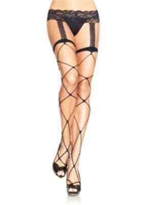 30eb8c704b9 LEG AVENUE JUMBO Net Thigh High Stockings. Black. 95% Nylon 5 ...