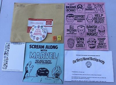 Rare Vintage Merry Marvel Society Kit w/ 2 Mini Books Pin Pad Spider-Man Fury