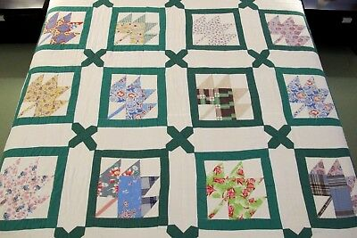 "RUSTIC Vintage All Cotton Machine Sewn MAPLE LEAF QUILT, Heavy; 79"" x 70"""