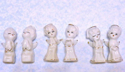 """Vintage Lot of 6 Small White Porcelain Christmas Angels, Gold Gild 2 1/2"""" Tall"""