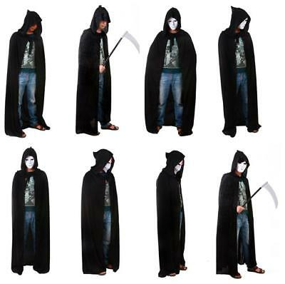 Black Cloak with Large Hood ~ HALLOWEEN VAMPIRE GOTHIC MEDIEVAL COSTUME CAPE LJ