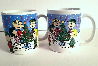 NEW Set of 2 Peanuts Merry Christmas Coffee Mugs Snoopy Woodstock Charlie Brown