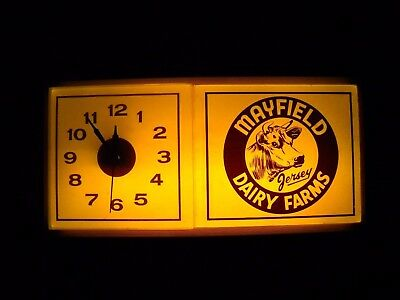 Vintage MAYFILED JERSEY DAIRY FARMS Advertising Lighted Wall Clock BIRMINGHAM AL
