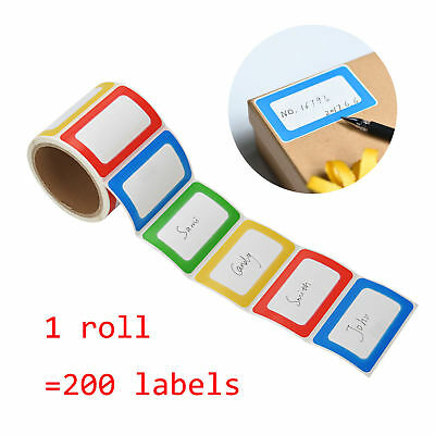 200 NAME TAGS Stickers 4 Color Personalized ADHESIVE Labels