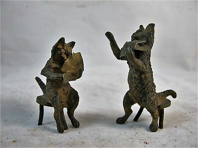 Pair Of Bronze Cats Playing Cards C1900