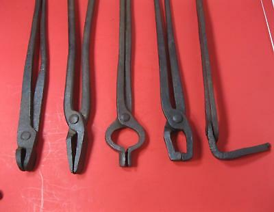 Vintage Lot Of Blacksmith Tools Tongs - Forged - Anvil Tools
