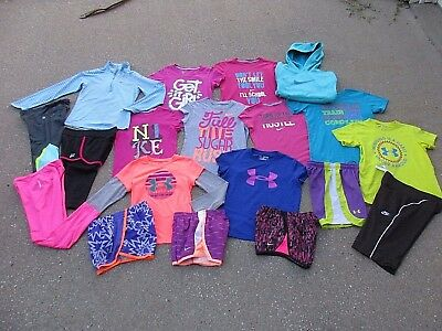 Girls Athletic Clothing Lot Under Armour Nike Hoodie Shirts Shorts Pants S 6 7 8