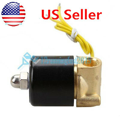 "1/4"" Electric Solenoid Valve 110V AC Magnetic Water Air Gas Fuel Brass Body"