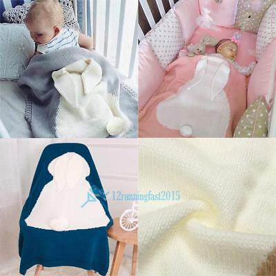 Cute Bunny Kids Baby Napping Blanket Rabbit Bedding Towel Cover Throws Wrap Soft