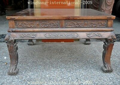 Old China Huanghuali Wood Hand-Carved Dragon phoenix Statue Ancient Tables Desk
