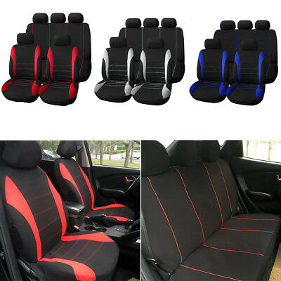9Pcs Universal Car Seat Covers Full Set FrontRear Back Head Rest Protector