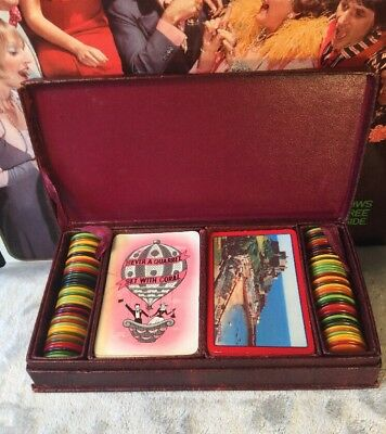 Vintage Collectable 1950s Poker Chip Card Gambling Game Castle Jersey Set