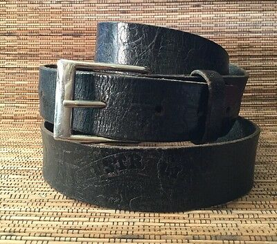 Vintage Genuine Leather Distressed Australiana Tooled Indigenous Brown Belt