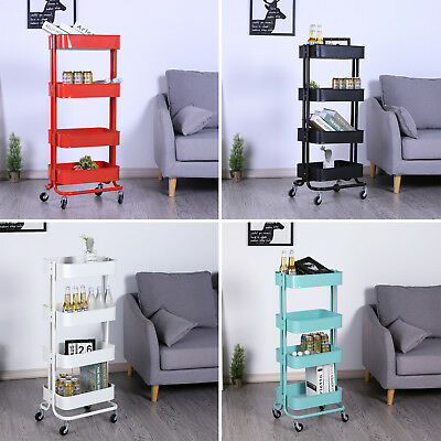 4-Tier Metal Rolling Utility Cart Kitchen Trolley Cart Mobile Storage Organizer