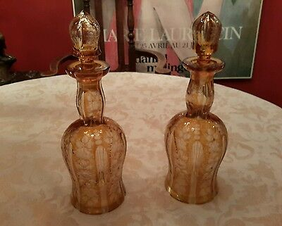 Pair (2) of Decanters Victorian Bohemian Cut Glass Yellow Clear Cut