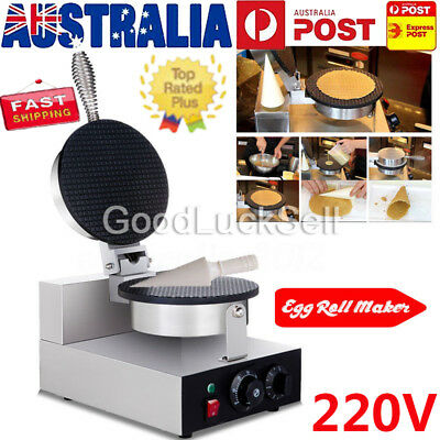 Commercial Electric Stainless Steel Ice Cream Egg Waffle Cone Maker Machine 220V