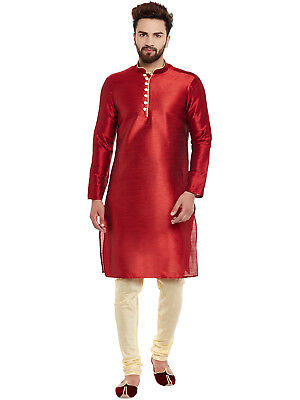Larwa Men's Silk Blend Loopbutton Kurta Pyjama for Men's in Indian Bollywood
