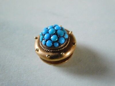 ANTIQUE 9ct GOLD COLLAR STUD / BUTTON TURQUOISE STONES