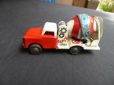 Vintage Cement Mixer Tin Toy - Chinese made 1960's or 70's Friction action works