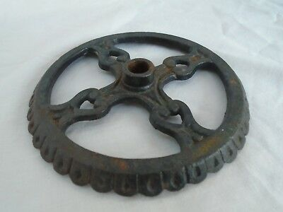 vintage antique black wrought iron metal primitive pulley wheel handle part