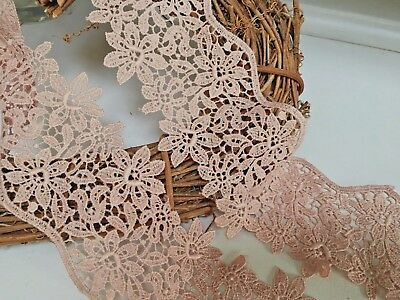 """*NEW* Stunning 3""""/7.5cm Camel Guipure Flower Edge Lace Trim.Crafts/Bridal/Sewing"""