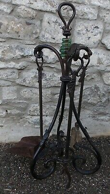 Antique Gypsy wrought iron COMPANION SET FIRE IRONS TOOLS on stand Arts & Crafts