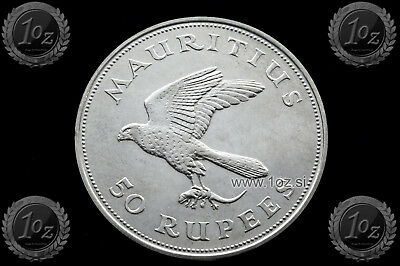 MAURITIUS 50 RUPEES 1975 (CONSERVATION KESTREL) SILVER Comm. Coin (KM# 41) Xf++