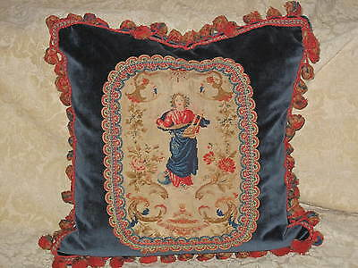 Sweet Antique Early 19Th C French  Petitpoint Needlepoint Tapestry Angel Pillow