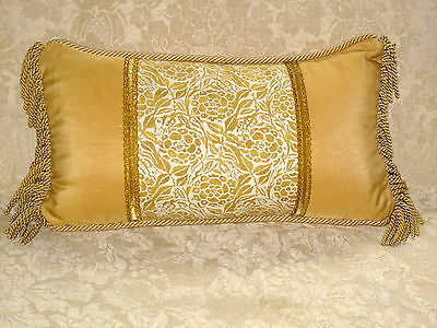 "Yellow & White Fortuny ""Fiori"" Lumbar Pillow On Scalamandre Silk"
