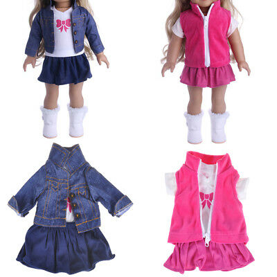 Doll Fancy Jeans Shirt Dress Suit for 18' American Girl Doll Clothes Outfit· LnW