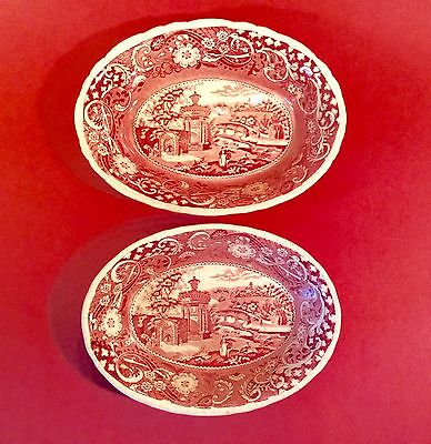 PAIR of W.R. Midwinter Red England Landscape Oval Vegetable Bowls~RARE~Ca.1930's
