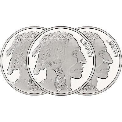 No Date Buffalo Medallion 1oz .999 Silver--3pc