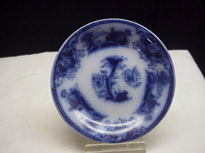 Antique Vintage Flow Blue Butter Pat, Scenic Design