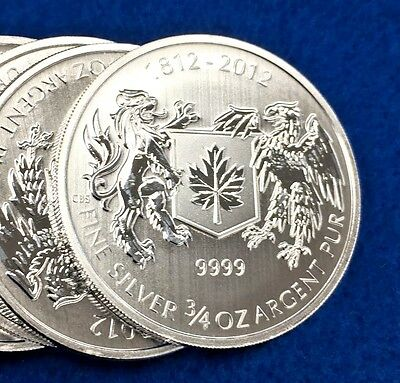 2012 Canada $1 War Of 1812 .9999 Silver 3/4 Troy Oz. BU Coin + Air Tight