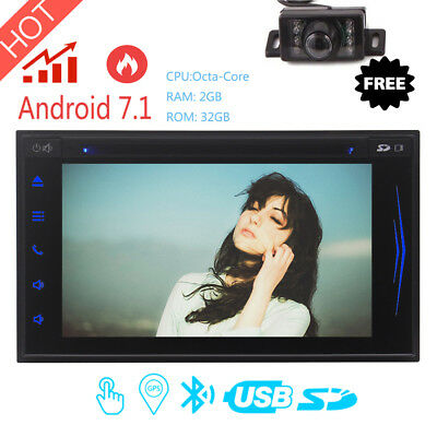 """7"""" Car Radio Double 2 Din Stereo GPS Android 7.1 Bluetooth Mirror Link DVD + CAM"""