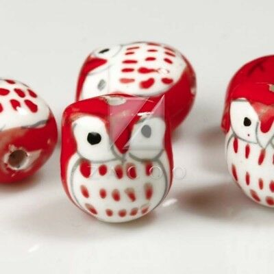 10pcs DIY Spacer Porcelain Owl Beads charm 17x15mm Fit Necklace Red PB0001