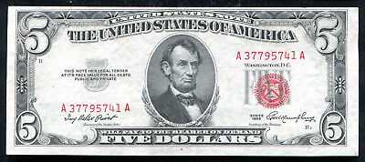 1953 $5 Five Dollars Red Seal Legal Tender United States Note Unc (B)
