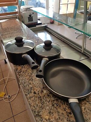 frying pan and 2 black saucepans with lids (suitable for induction hob)