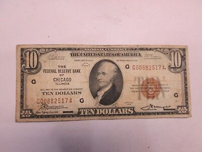 1929 Us $10 Frb Of Chicago Il National Banknote