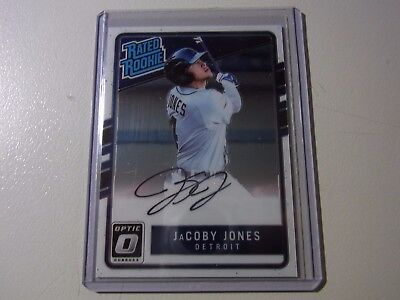 2017 Panini Donruss Optic Rated Rookie On Card Auto RC JaCoby Jones Tigers