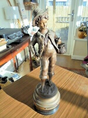 "Artist Signed French Spelter Figure Just Under 14"" From House Clearance"