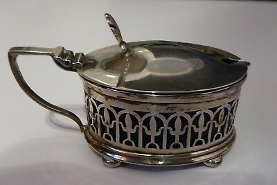 1924 Silver Mustard Pot by Docker & Burn Ltd. with Blue Glass Inner and Spoon
