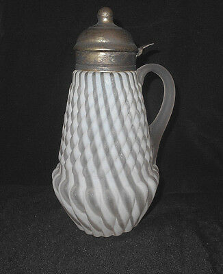 Antique 1800's White Opalescent Satin Swirl Pattern Syrup/molasses Pitcher