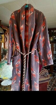Vintage Beacon Blanket Cabin Robe Brown Gray Red Southwestern/deco Soft Warm Xl