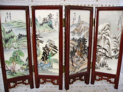 Vintage Asian 2 Sided, 4 Panel Table Screen - each panel signed