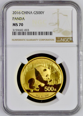 China 2016 Gold Coin 500 Yuan Panda 30 gram Temple of Heaven NGC MS70