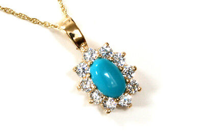 """9ct Gold Turquoise and CZ Pendant and 18"""" Chain Made in UK Gift Boxed"""