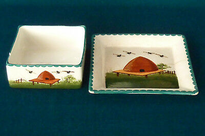 Early Wemyss Matching Pair of Beehive Decoration Dishes Butter/Cheese Dish