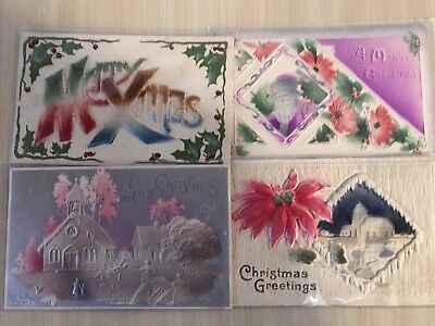 Nice Lot-of-4-Early-Vintage-Christmas-Heavy Embossed-Airbrushed-Postcards-p17